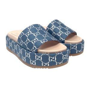 Brand New Gucci Light GG Lame Blue Slide Sandal